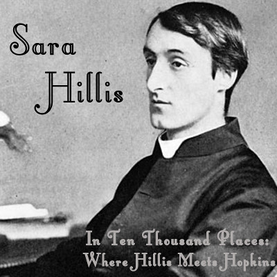 """Cover of """"In Ten Thousand Places: Where Hillis Meets Hopkins."""" A picture of Hopkins at his desk in his priest's collar with the title of the album near the bottom of the picture and """"Sara Hillis"""" written in the upper left corner."""